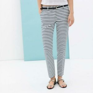 Zara Nautical Navy Blue White Striped Trouser Pant